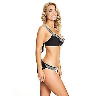 Zoggs Women Siena Frill 2-Piece With Removable Cups Eco Fabric Bikini Set Black