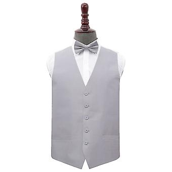 Prata planície Shantung casamento colete & amp; Conjunto de gravata borboleta