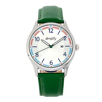 Simplify The 6900 Leather-Band Watch w/ Date - Green