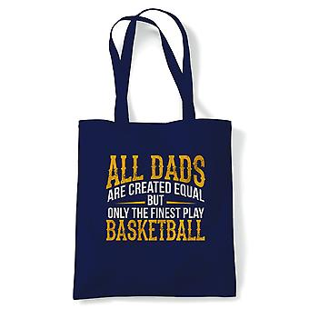 Finest Dads Play Basketball Sports Tote | Football Rugby Hockey Basketball Baseball Boxing | Reusable Shopping Cotton Canvas Long Handled Natural Shopper Eco-Friendly Fashion