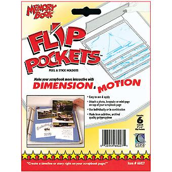 Flip Pockets Peel & Stick Holders 6 Pkg Clear 4