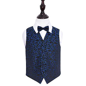Boy's Black & Blue Swirl Patterned Wedding Waistcoat & Bow Tie Set