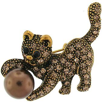 Brooches Store Gold and Topaz Crystal Cat with Ball Brooch