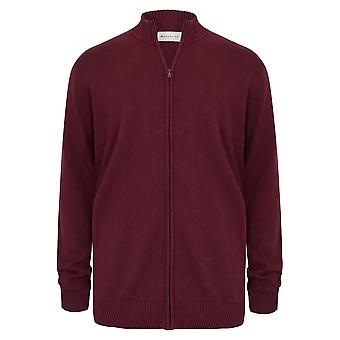 BadRhino Burgundy Knitted Zip Sweater With Funnel Neck - TALL