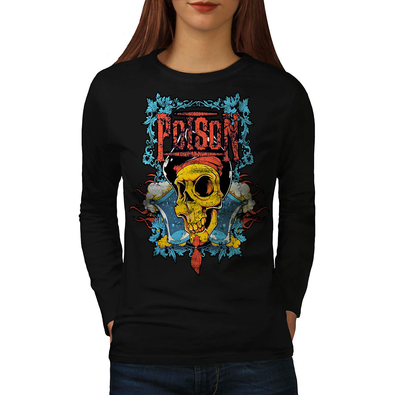 Poison Pirate Skull böse Monster Frauen Langarm T-shirt schwarz | Wellcoda