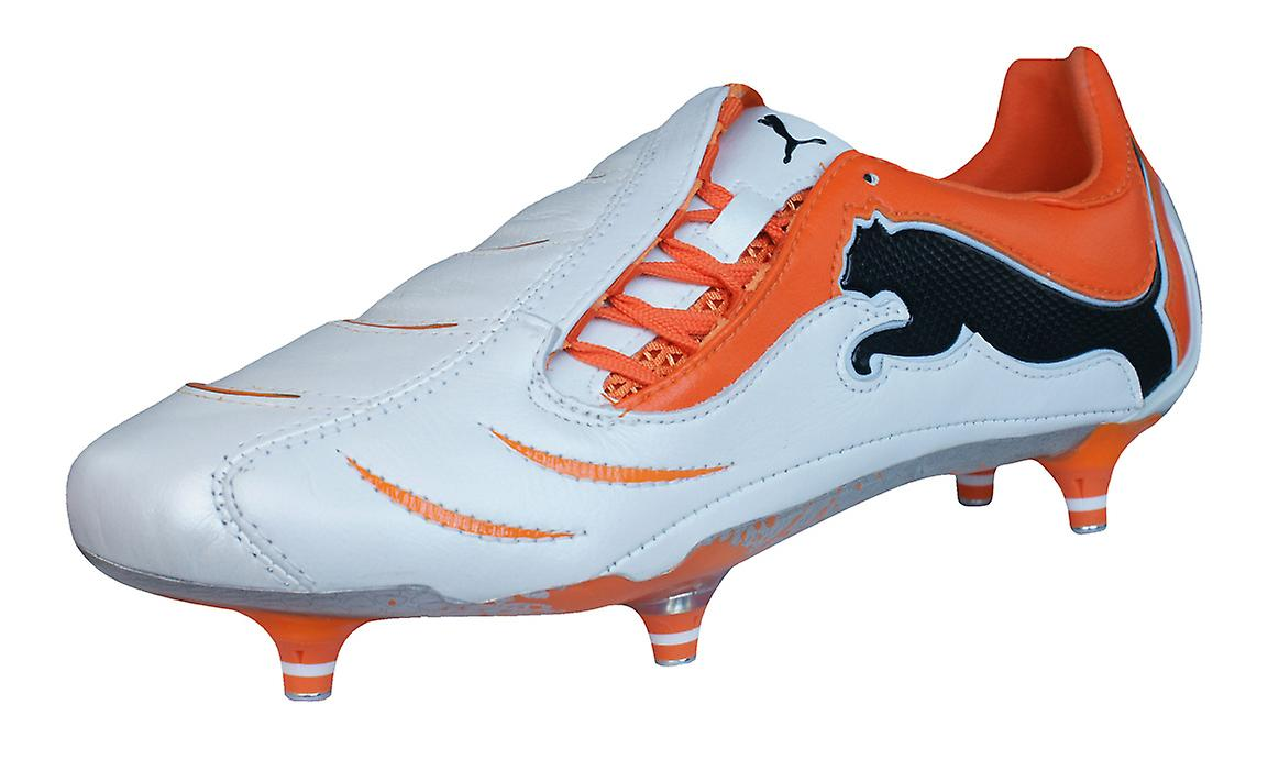 Puma PowerCat 1.10 SG Mens cuoio Football Boots / tacchette - White Orange