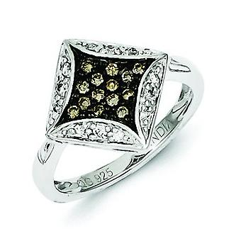 Sterling Silver Gift Boxed Rhodium-plated Champagne Diamond and Diamond Shape Ring - Ring Size: 6 to 8