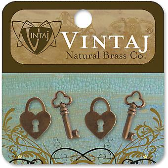 Vintaj Metal Accents-Hearts & Keys 19mm 4/Pkg ES0718