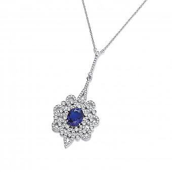 Cavendish French Silver and Sapphire CZ Belle Epoque Necklace