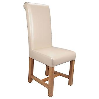 Sally Solid Oak And Leather Chair - Assembled
