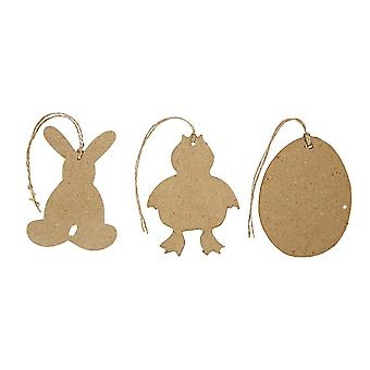 12 Assorted Hanging Paper Mache Easter Decorations | Papier Mache Shapes