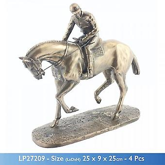 BRONZED CERAMIC HORSE AND JOCKEY SCULPTURE DECORATION FIGURE ORNAMENT
