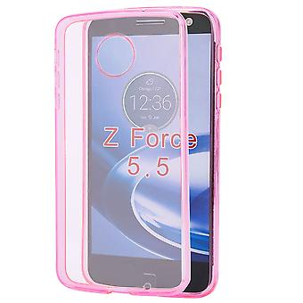 32nd Clear Gel case + stylus for Motorola Moto Z Force - Hot Pink