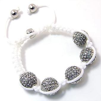 Unisex bling bracelet - DISCO BALL DOUBLE KNOT silver white