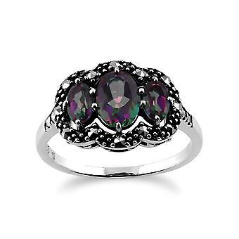Sterling Silber 1,3 ct Mystik grün-Topas & Markasit Ring