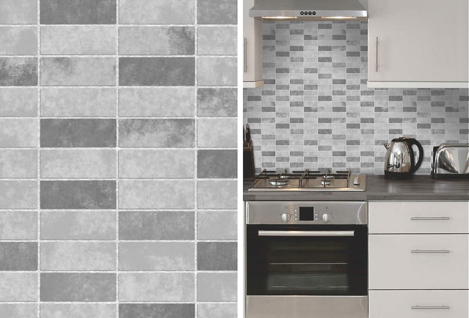 Grey Stone Tile Effect Expanded Vinyl Kitchen Bathroom Wallpaper by FD40117