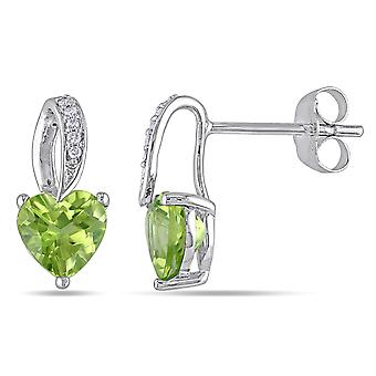 Peridot Heart Earrings 1.65 Carat (ctw) with Diamonds in 10K White Gold