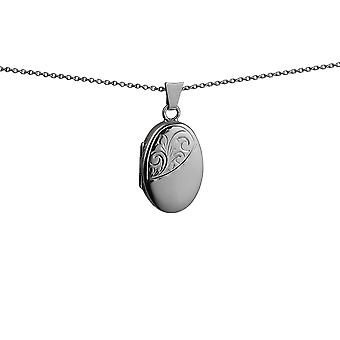 Silver 22x15mm half hand engraved oval Locket with a rolo Chain 14 inches Only Suitable for Children