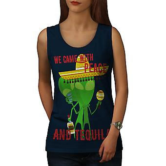 Tequila Alien Joke Funny Women Navy Tank Top | Wellcoda