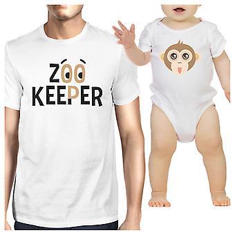 Zoo Keeper małpa tata i dziecko pasujące prezent koszulki na Baby Shower