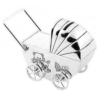 Juliana Bambino Silver Plated Pram Money Box - Silver