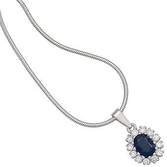 Sapphire Pendant 925 sterling silver rhodium plated 12 cubic zirconia 1 sapphire blue