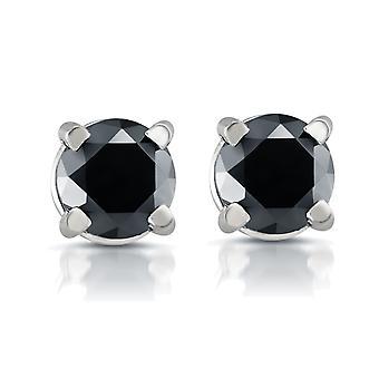 Witgoud 1 / 2ct ronde geslepen diamant zwart Studs 14k