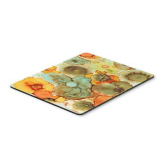 Abstract Flowers Teal and orange Mouse Pad, Hot Pad or Trivet