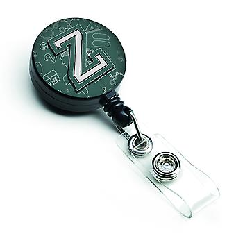 Letter Z Back to School Initial Retractable Badge Reel