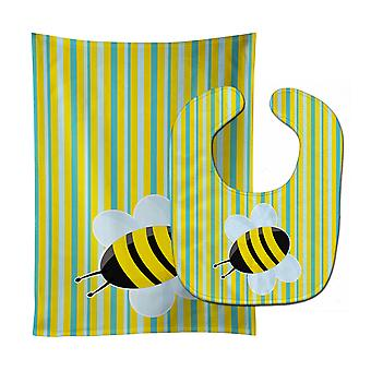 Carolines Treasures  BB8597STBU Bee on Stripes Baby Bib & Burp Cloth