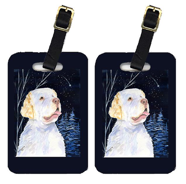 Carolines Treasures  SS8356BT Starry Night Clumber Spaniel Luggage Tags Pair of