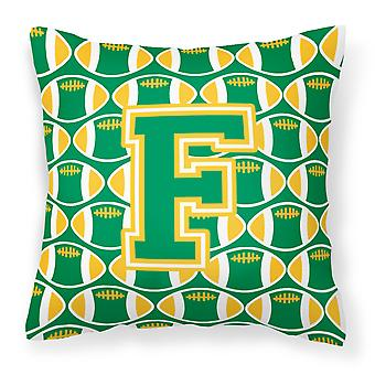 Letter F Football Green and Gold Fabric Decorative Pillow