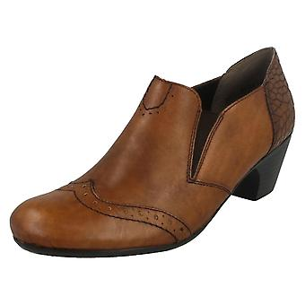 Ladies Rieker Heeled Shoes With Brogue Detailing 50563