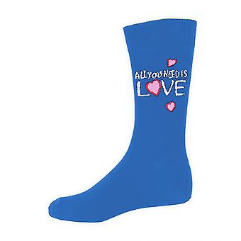 The Beatles All You Need Is Love Official Mens New Blue Socks (UK Size 7-11)