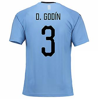 2018-2019 Uruguay Home Football Shirt (D. Godin 3)
