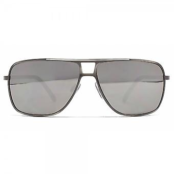 French Connection Square Metal Pilot Sunglasses In Brushed Gunmetal