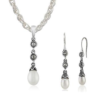 Sterling Silver Freshwater Pearl & Marcasite Drop Earring & 45cm Necklace Set