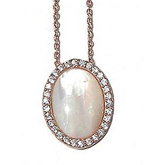 Pearl necklace 18 ct rose gold plated silver with crystals