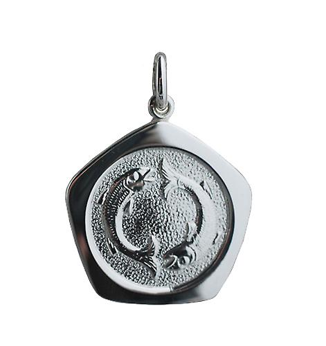 Silver 21mm five sided Pisces Zodiac Pendant