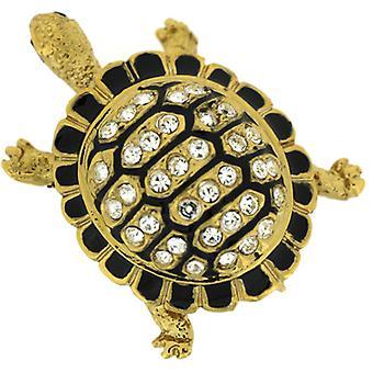 Broscher Store svart emalj guldpläterade & Swarovski Crystal sköldpadda brosch