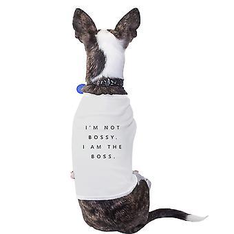 Jeg er Boss bomuld Pet skjorte hvid små hunde tøj