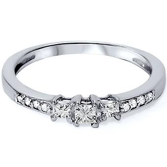 1/4ct Three Stone Princess Cut Diamond Engagement Ring 14K White Gold