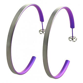 Ti2 Titanium grote Hoop Earrings - Imperial Purple