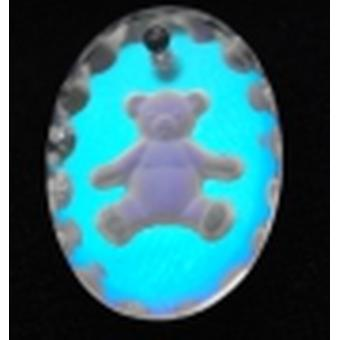 Ice Blue Oval Mini Teddybär Kristallanhänger