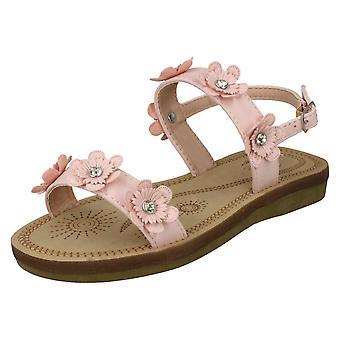 Jenter flekk på Slingback blomstrende sandaler H0292 - rosa syntetisk - UK størrelse 12 - EU størrelse 30 - USA størrelse 13