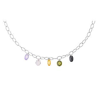 Orphelia Silber 925 Halskette farbige ovale ZK-2687