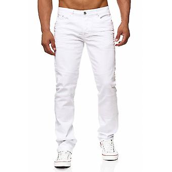 Mænds jeans hvide bukser tilbage zip JON