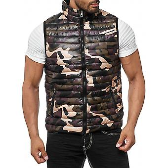 Men's quilted waistcoat lined sleeveless camouflage pattern in olive and brown