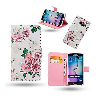 Pouch/leather wallet-Samsung Galaxy S6-Flowers