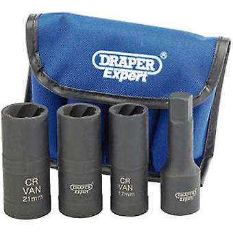 Draper 9539 Expert 4 stuk 1/2 Square Station Wheel Nut Double Impact Socket Kit
